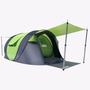 4-man Cinch popup tent on grey background